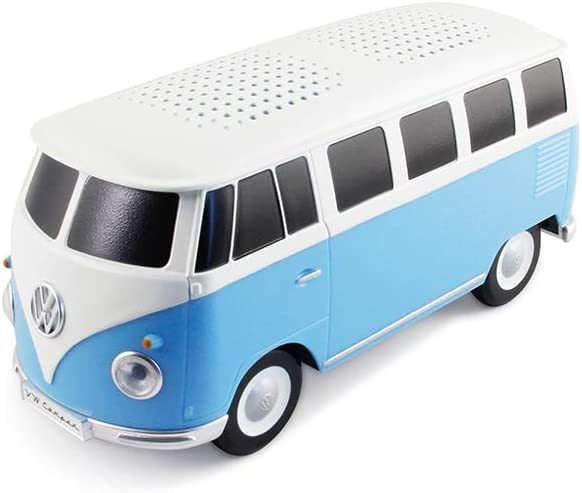 BRISA VW Collection – Volkswagen Samba Bus T1 Camper Van Portable Bluetooth Speaker, Wireless Cordless with Great Sound Quality Unique Design Scale 1 20 Blue White