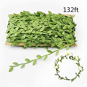 Shine-Co Artificial Green Leaves Fake Silk Vines DIY Garland Wreaths Decoration for Office Home Garden Wedding Party 103