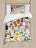 Ambesonne Construction Duvet Cover Set Twin Size, Construction Tools in Cartoon Style Engineering Fixing Repairing Building, Decorative 2 Piece Bedding Set with 1 Pillow Sham, Multicolor