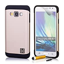 32nd® Slim Armour Defender Case Cover for Samsung Galaxy A3 (SM-A300), including touch stylus - Gold