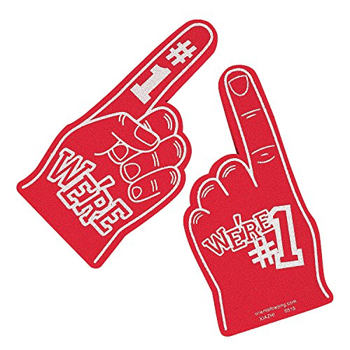 We're Number #1 Finger Team Color Cheerleading Foam Hand (1 Foam Finger)