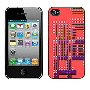 Colorful Printed Hard Protective Back Case Cover Shell Skin for Apple iPhone 4 / iPhone 4S / 4S ( Pink Purple Retro Pattern Spots White )