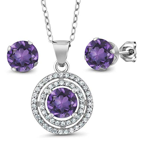 Gem Stone King 3.00 Ct Round 6mm 925 Sterling Silver Pendant Earrings Set with 18inches Silver Chain