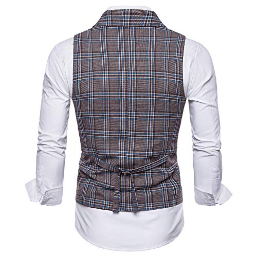 SMALLE ◕‿◕ Clearance,Men Plaid Casual Printed Sleeveless Jacket Coat British Suit Vest Blouse by SMALLE (Image #5)