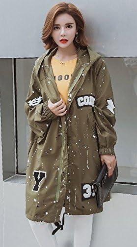 XXXXLコードArmy 緑 Plus Fatレディース春と秋冬の衣類の数を増やすFat Sisterコートの長いセクションの脂肪MMウィンドブレーカーLoose