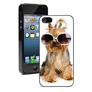 For Apple iPhone 4 4S Hard Case Cover Yorkie in Glasses -01