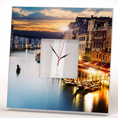 Sunset Venice Grand Canal Wall Clock Framed Mirror Printed Decor Italy Fan Art Home Room Design Gift