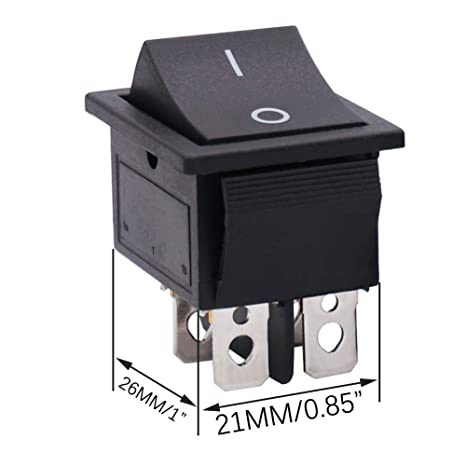 125 V Color Negro 250 V CA 16 A Juego de 5 interruptores basculantes de Arranque para Coche 20 A Taiss KCD2-201-BK