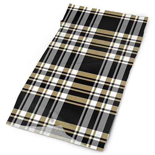 OHMYCOLOR Plaid Striped Yellow Gold Black Headwrap Unisex Headwear Headband Neck Scarf Microfiber Do Rag Cap Magic Head Scarf Bandana Novelty Headdress Face Mask Neck Gaiter ()