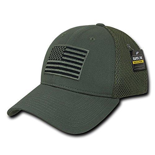 USA US American Flag Tactical Operator Mesh Flex Baseball Fit Hat Cap - Olive Drab