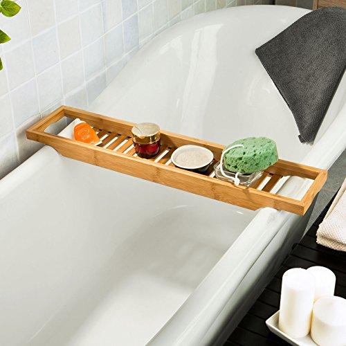 sobuy ripiano per vasca da bagno in bambscaffale da bagno set di accessori per il bagno frg18l70l145a45cmit amazonit casa e cucina