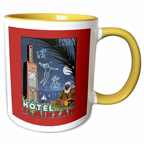 3dRose BLN Vintage Travel Posters and Luggage Tags - Tanger Hotel El Minzah Ocean with Sailboats Luggage Label - 11oz Two-Tone Yellow Mug - Tanger Outlets The