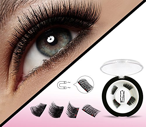 5611890fb86 Half Size Dual Magnetic False Eyelashes Set (4 pieces) - Handmade 3D Fake  Magnetic Lashes Extension - Best Reusable and Easy to Apply Ultra Thin Dual  Magnet ...