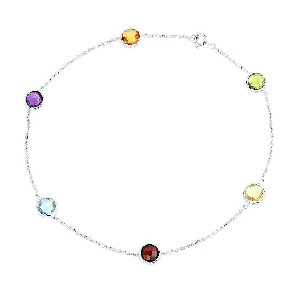 14k White Gold Anklet Bracelet With 6mm Fancy Cut Round Gemstones 9, 9.5, 10, 10.5 and 11 Inches