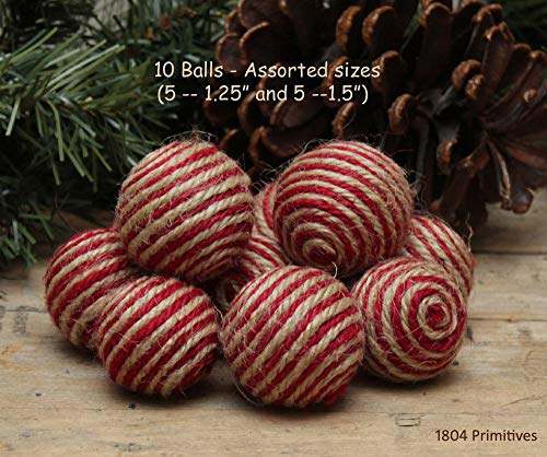 Inspiration for A Project Ornament 10 Red & Natural Jute/Twine Balls - Bowl Fillers - Ornies DIY Rustic Primitive Decor Ideas -