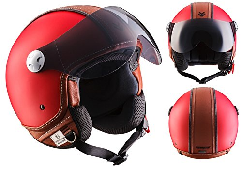 "Armor /· AV-84 /""Vintage Deluxe Red/"" /· Open Face Helmet /· Jet Scooter Retro Motorbike Motorcycle Pilot /· ECE certified /· Visor /· Click-n-Secure/™ Clip /· Carrier Bag /· M 57-58cm red"