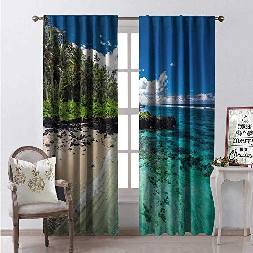 (Hengshu Samoa Window Curtain Drape Aerial Panoramic Photo of Idyllic Natural Ocean Coast Beach Exotic Jungle Trees Customized Curtains W72 x L84 Multicolor)