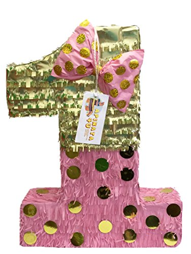 APINATA4U Large Pink & Gold Bow Number One