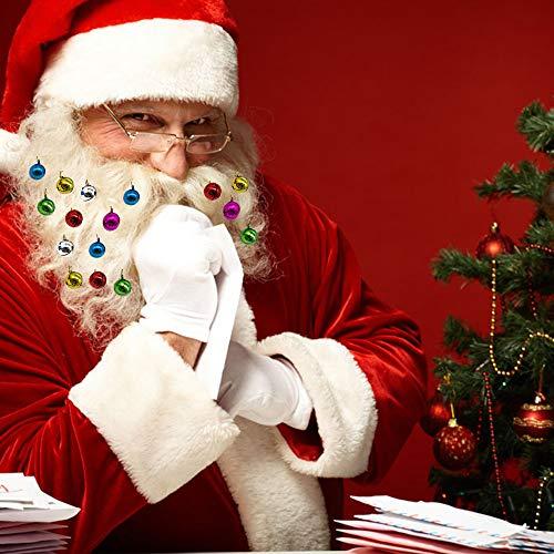 YSDOutdoor Beard Ornaments Colorful Christmas Beard Clips Facial Hair Ball Baubles for Men 12pcs Vibrant Beard Bells