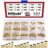 Hilitchi 250-Pcs M2 / M3 /M4 Female Thread Brass Knurled Threaded Insert Embedment Nuts Assortment Kit