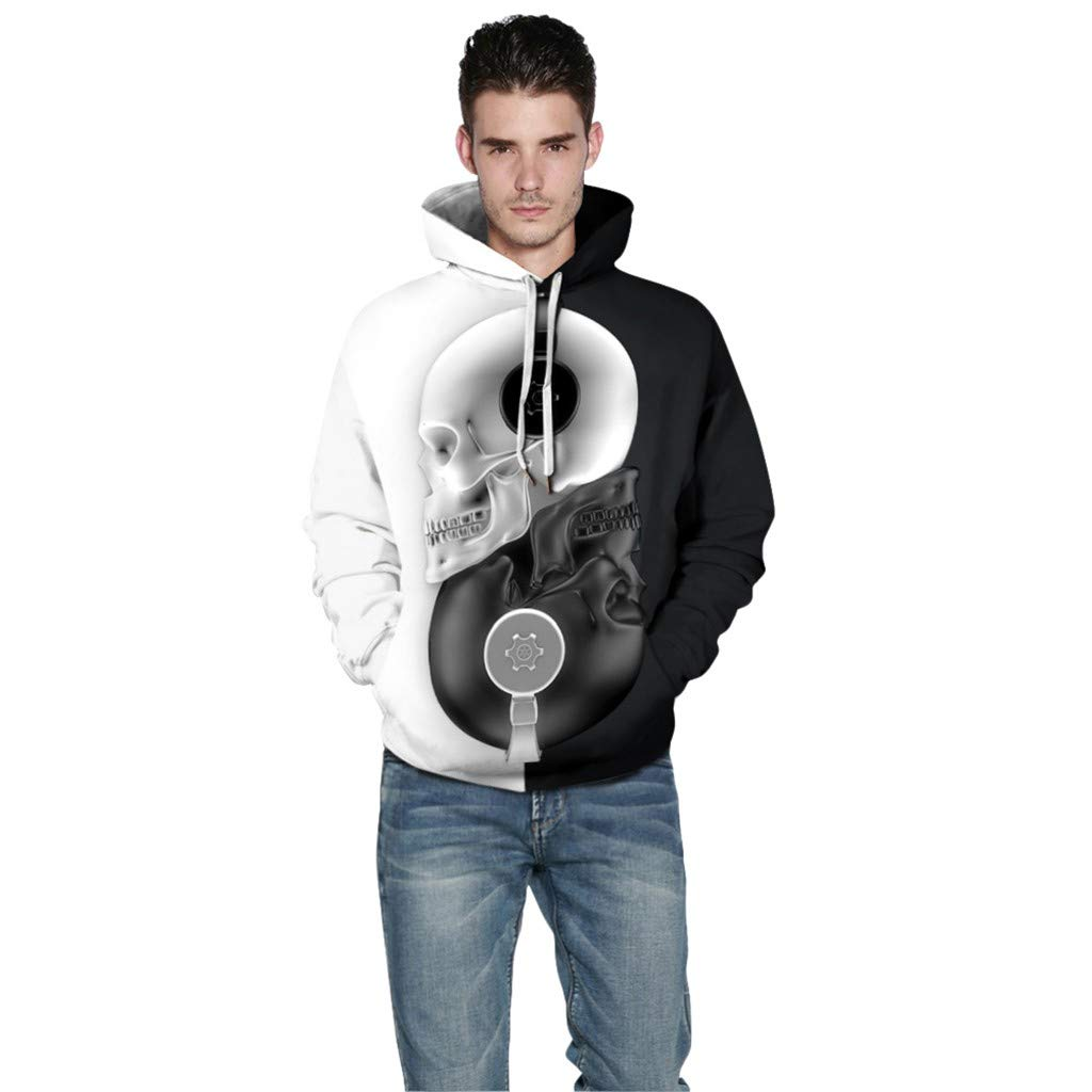 Hoodie Patterns Print 3D AcisuHu Sweaters Sweatshirts Pullover Long Sleeve Tops for Autumn Black and White Stitching
