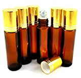 6 New Amber Glass 10ml Roller Bottles - [Recipe eBook included] - Apply Essential Oils, Blends, Perfumes and use for Aromatherapy - Gold Metal Caps and Stainless Steel Roller Balls