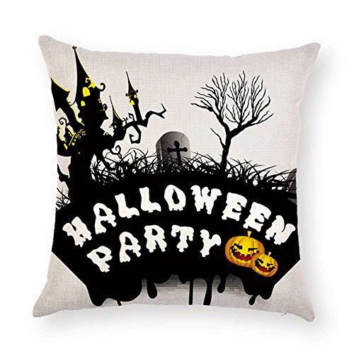 SUNONE11 Black Tree Castle Cross Tombstone Sayings HALLOWEEN PARTY Quotes Pillowcase Pumpkin Pillow Case Cushion Cover Protector Square 17 x 17 inch for Couch Sofa -