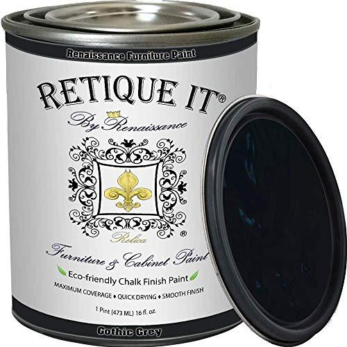 Retique It Chalk Furniture Paint by Renaissance DIY, 16 oz (Pint), 07 Gothic Grey