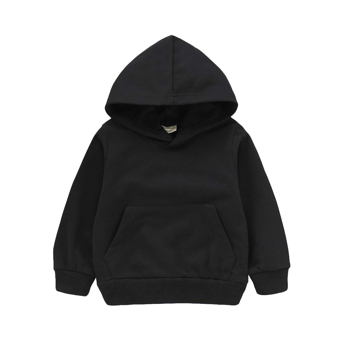 MODNTOGA Baby Sweatshirt 1-6 Years Old,Toddler Boy Girl Kids Autumn Winter Long Sleeve Solid Hooded Casual Tops Pullover (Black, 120(5T)) by MODNTOGA