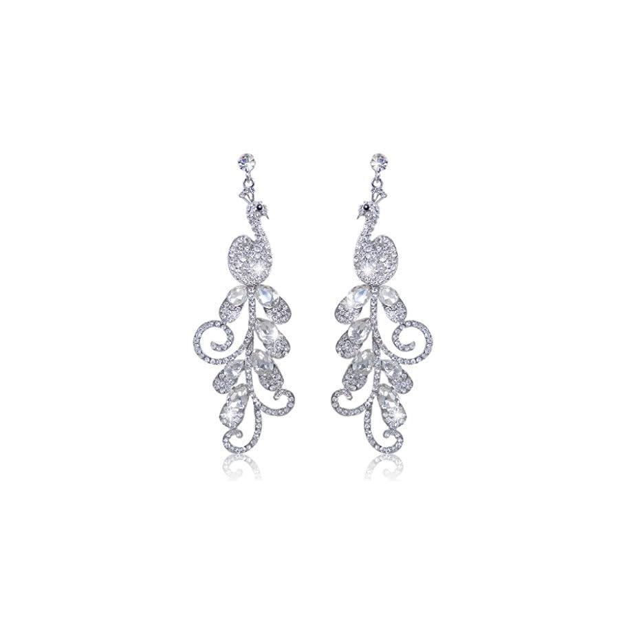 EVER FAITH 4 Inch Peacock Teardrop Dangle Earrings Austrian Crystal