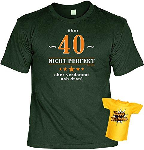 Modisches Herren Fun-T-Shirt als ideale Geschenkeidee im Set zum 40. Geburtstag + Mini Tshirt Baujahr 1977 Farbe: dunkelgrün