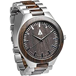 Treehut Men's Ebony Wooden Silver Stainless Steel Watch Quartz Analog with Qu...