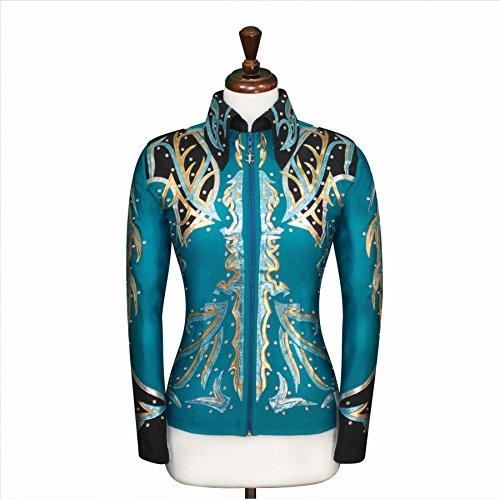 Western Pleasure Show Shirts - JC Apparel Toby's Western Equestrian Horse Riding Wear Green Teal Blue Black [V1] Shirt Jacket Rodeo Queen Rail Horsemanship Showmanship Pleasure Showtime Outfit W/Appliques [4] (2X-Large)