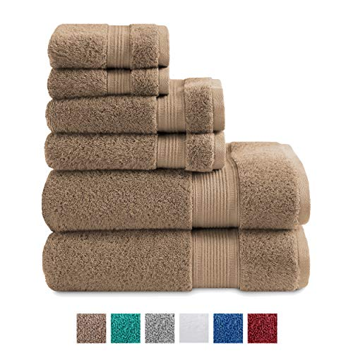 TRIDENT Large Bath Towels, 100% Cotton Feather Soft Towels, 6 Piece Set -2 Bath, 2 Hand, 2 Washcloths, Absorbent, Soft & Plush Bath Towels (New Acorn)