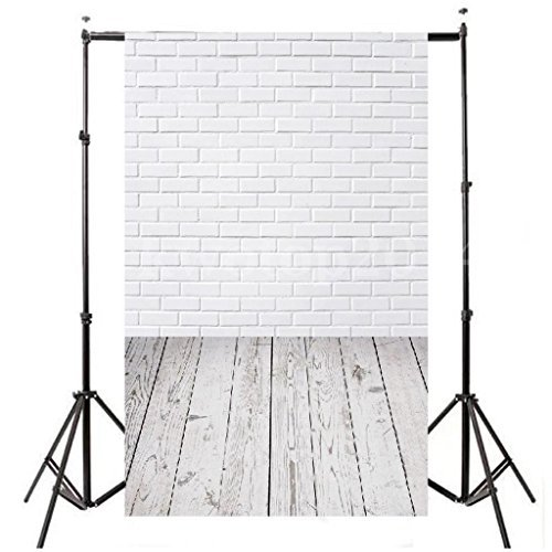 DODOING 3ft X 5ft Vinyl Photo Backdrop Printed Photography Backgrounds Brick Wall and Wood Floor Photography Backdrop