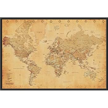 Amazon world map vintage style 36x24 wood framed poster art world map vintage style 36x24 wood framed poster art print gumiabroncs Images