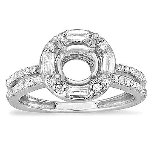 - 1.15 Carat (ctw) 14K White Gold Round & Baguette Cut Diamond Semi Mount Engagement Ring