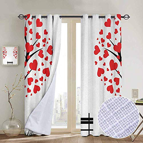NUOMANAN Blackout Curtains Tree of Life,Trees with Hearth Shaped Leaves and Bench Love Valentines Romance Design,Black Red White,Insulating Room Darkening Blackout Drapes for Bedroom 100