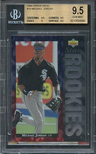 77539bb5d50 Amazon.com  1994 upper deck  19 MICHAEL JORDAN baseball rookie card BGS 9.5  (9.5 9.5 9 9.5) Graded Card  Collectibles   Fine Art
