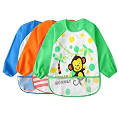 Color: 3 piece set Sleeveless with wet protection - Practical companion for food beginners In the fifth or sixth month of life, babies get their first mash or juice and they usually spread happily over the face, the sleeves, the table or even...