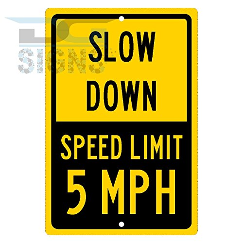 5 MPH Speed Limit Sign - Yellow Slow Down Aluminum ()