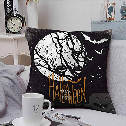 Fbdace Square Pillow Case Cover Vintage Halloween Full Moon Trees Soft, Breathable and Hypoallergenic 18 X 18 Inch -