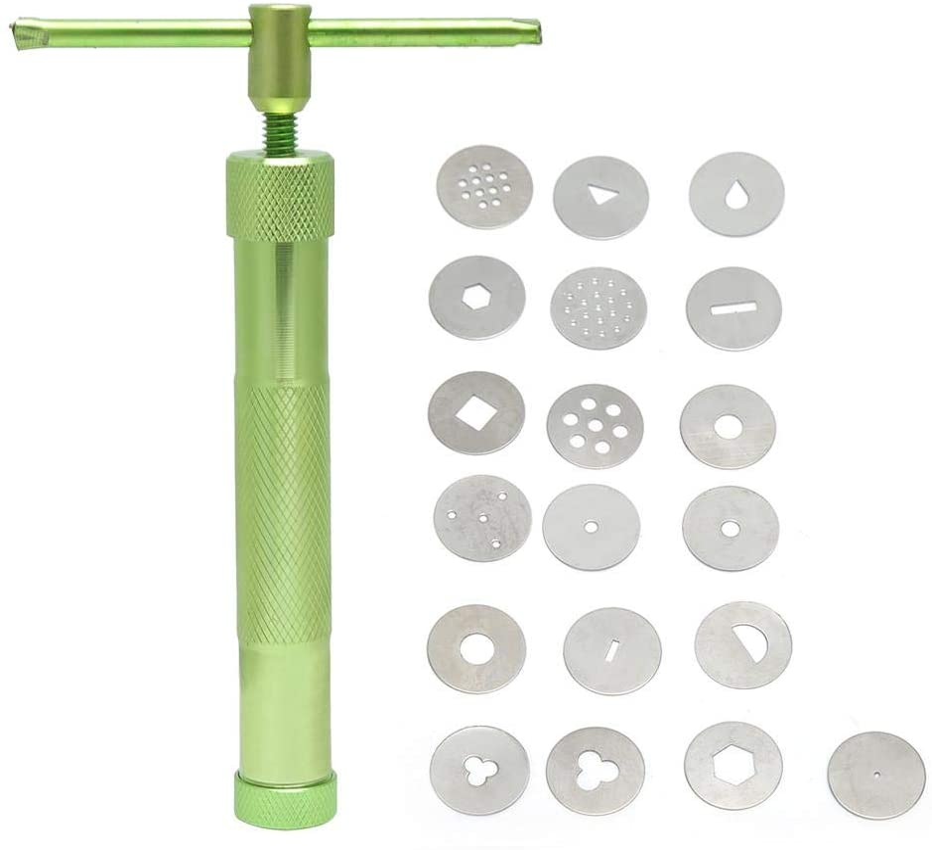HERCHR 21Pcs Fondant Tools Set Cake Sculpture Polymer Clay Cutters Exprimidor de Barro Extrusora de Barro Suministros para moldear Arcilla(Verde)