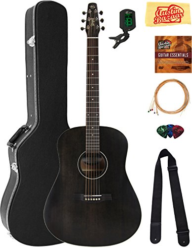 Seagull S6 Original Acoustic Guitar - Black Bundle with Hard Case, Tuner, Strings, Strap, Picks, Austin Bazaar Instructional DVD, and Polishing Cloth