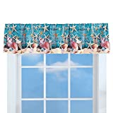 #6: Collections Etc Starfish Coastal Décor Curtain Valance Topper for Bathroom, Kitchen