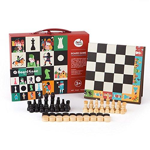 Juego de ajedrez para niños y adultos Early Education Wood Checkers Puzzle