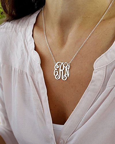 (Any Initial Monogram necklace - Personalized Monogram - 925 Sterling Silver, Personalized Jewelry)