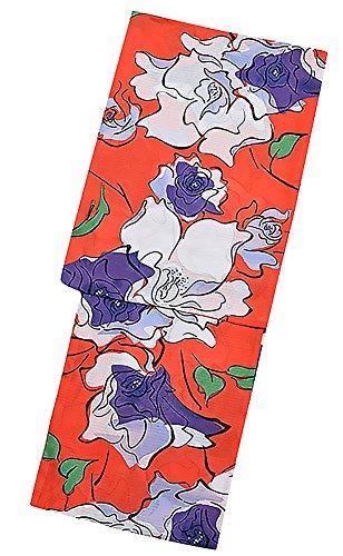 黒有利唯一[ KIMONOMACHI ] オリジナル 浴衣単品「オレンジレッド薔薇」