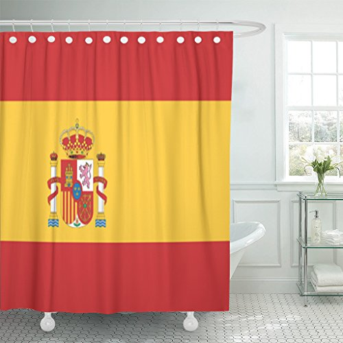 TOMPOP Shower Curtain Spanish Spain Flag Barcelona Madrid Waterproof Polyester Fabric 72 x 72 inches Set with Hooks by TOMPOP