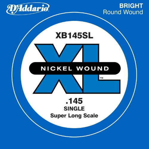 D'Addario XB145SL Nickel Wound Bass Guitar Single String, Super Long Scale, .145